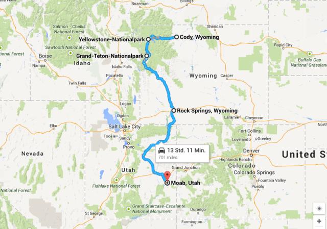 Cody nach Moab