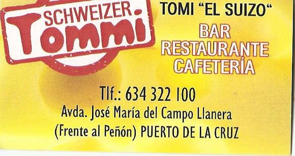 """Teneriffa - Puerto de la Cruz - 05.03.2015 - Während """"Tommy"""" am liebsten deutsch-kanarische Spezialitäten kocht und damit seine Gäste verwöhnt, ist Sylvia diejenige, die ihre Gäste mit einem freundlichen Lächeln und professionellen Service verwöhnt. Bis vor kurzem waren die beiden Pächter der Gaststätte am Tennisclub Romántica II. Inzwischen sind sie in ein zentral gelegenes Lokal im Herzen von Puerto de la Cruz umgezogen. Es ist dort genauso gemütlich mit der für die beiden typischen, gastfreundlichen Atmosphäre. Wer möchte kann sich davon gleich am Donnerstagabend, 5. März überzeugen, wenn es von 17 bis 20 Uhr Livemusik gibt. Am Samstag, 7. März von 12 bis 18 Uhr, steigt dann die große Eröffnungsparty. Eine gute Stimmung und ausgelassenes Feiern sind dabei Programm. Deshalb am besten rechtzeitig unter der Telefonnummer 634 322 100 einen Tisch reservieren. Und sonntags gibt es wie immer einen üppigen Brunch mit leckeren warmen und kalten Spezialitäten.  Das Lokal """"Tommi – El Suizo"""" öffnet von 9 bis 18 Uhr, bei Livemusik auch länger. Es ist in der Avenida José María de Campo Llanera, direkt vor der Nationalpolizei."""